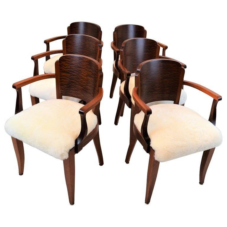 Art Deco Kuipstoelen.Gaston Poisson Art Deco Armchairs Covered With Sheepskin In Solid