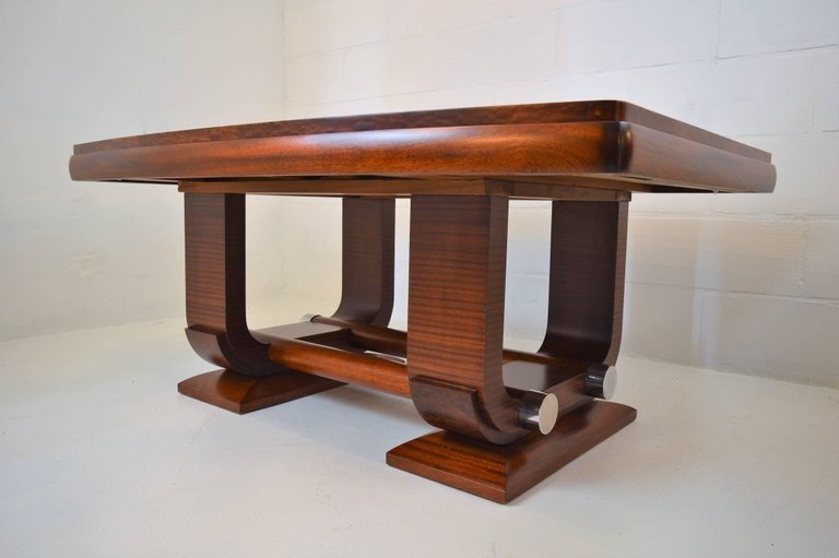 Gaston Poisson Art Deco Dining Room Table In Mahogany, 1930